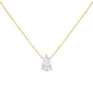 Gold CZ Teardrop Stone Necklace - Adina's Jewels