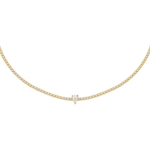 Gold CZ Teardrop Tennis Choker - Adina's Jewels