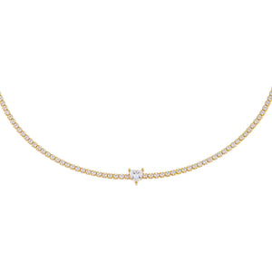 Gold CZ Heart Tennis Choker - Adina's Jewels