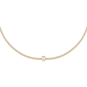 Gold CZ Oval Tennis Choker - Adina's Jewels
