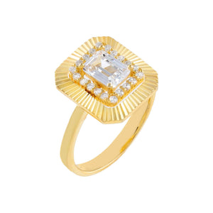 Gold / 7 CZ Illusion Baguette Ring - Adina's Jewels