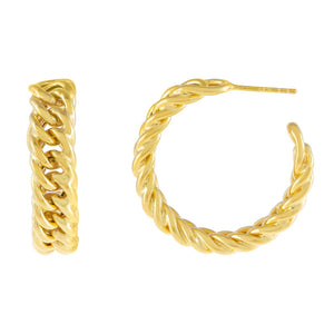 Gold Chunky Double Curb Chain Hoop Earring - Adina's Jewels