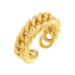 Gold Chunky Double Curb Chain Ring - Adina's Jewels