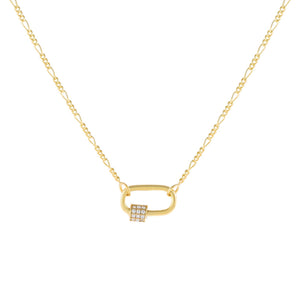 Gold Pavé Mini Toggle Figaro Necklace - Adina's Jewels