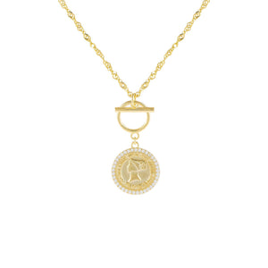 Gold Pavé Coin X Toggle Necklace - Adina's Jewels