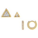 Gold CZ Triangle Earring Combo Set - Adina's Jewels