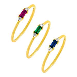 Combo / 5 CZ Colored Dainty Baguette Ring Set - Adina's Jewels