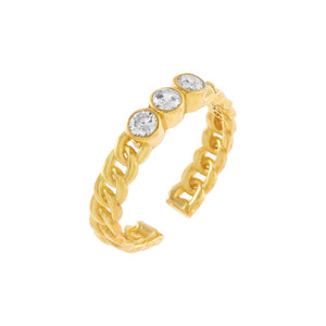 Gold CZ Trio Colored Stone Ring - Adina's Jewels