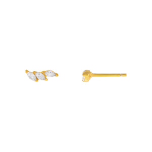 Gold Tiny CZ Triple Marquise Stud Earring - Adina's Jewels