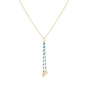 Gold Enamel Beaded Charm Lariat - Adina's Jewels