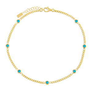 Turquoise CZ Colored Cuban Chain Anklet - Adina's Jewels