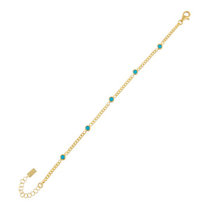Turquoise CZ Colored Cuban Chain Bracelet - Adina's Jewels