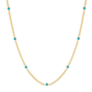 Turquoise CZ Colored Cuban Chain Choker - Adina's Jewels