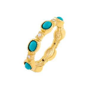 Turquoise / 6 CZ X Turquoise Oval Ring - Adina's Jewels