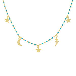 Turquoise Celestial Enamel Beaded Necklace - Adina's Jewels