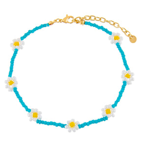 Turquoise Multi Color Flower Beaded Anklet - Adina's Jewels