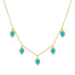 Turquoise CZ Turquoise Multi Teardrop Necklace - Adina's Jewels