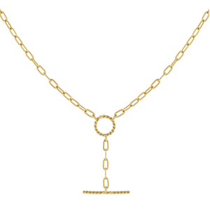 Gold Thin Rope Open Link Lariat - Adina's Jewels