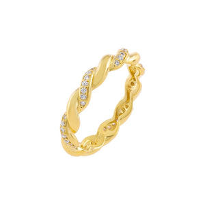 Gold / 6 Pavé X Solid Twisted Ring - Adina's Jewels