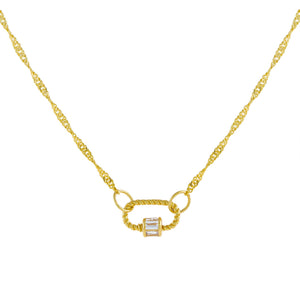 Gold Mini Baguette Rope Toggle Singapore Necklace - Adina's Jewels