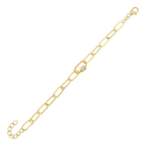 Gold CZ Baguette Rope Toggle Link Bracelet - Adina's Jewels
