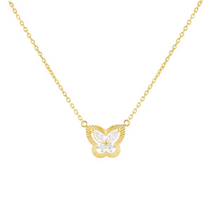 Gold CZ Illusion Butterfly Necklace - Adina's Jewels