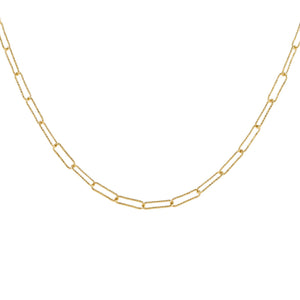 14K Gold Wire Diamond Cut Link Necklace 14K - Adina's Jewels