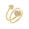Gold / 6 Pavé Heart Wrap Ring - Adina's Jewels