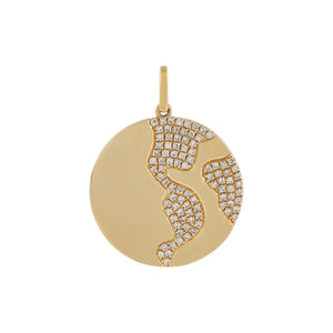 14K Gold Diamond Globe Coin Charm 14K - Adina's Jewels
