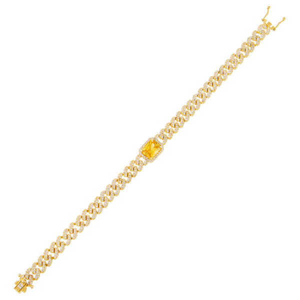 Yellow CZ Colored Baguette Chain Link Bracelet - Adina's Jewels