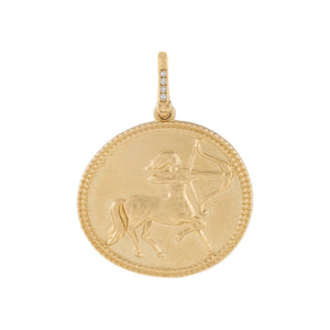 14K Gold Diamond Warrior Coin Charm 14K - Adina's Jewels