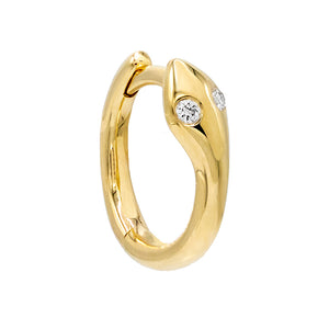 14K Gold / Single Diamond Eye Snake Huggie Earring 14K - Adina's Jewels