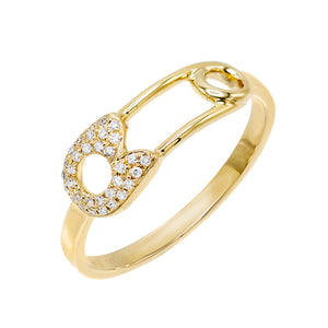 14K Gold / 6.5 Diamond Safety Pin Ring 14K - Adina's Jewels