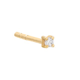 14K Gold / Single / 4 MM Diamond Square Stud Earring 14K - Adina's Jewels