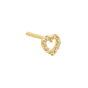 14K Gold / Single CZ Open Heart Stud Earring 14K - Adina's Jewels