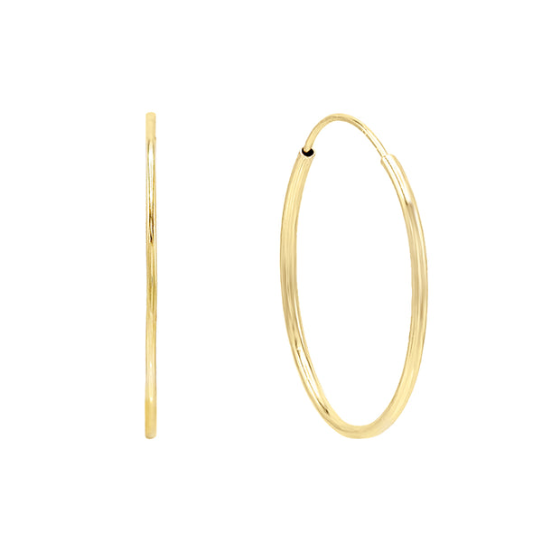 14K Gold / 20 MM Endless Hoop Earring 14K - Adina's Jewels