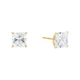 14K Gold / 3 MM / Pair Princess Cut Stud Earring 14K - Adina's Jewels