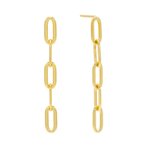 Gold Oval Link Drop Stud Earring - Adina's Jewels