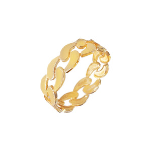 Solid Chunky Chain Ring 14K 14K Gold / 6 - Adina's Jewels