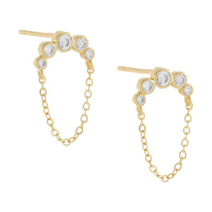 Gold Bezel Arc Chain Stud Earring - Adina's Jewels