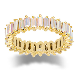 Crystal Iridescent Eternity Band Gold / 9 - Adina's Jewels