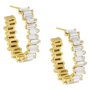 Crystal Baguette Hoop Earring Gold - Adina's Jewels