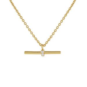 Gold Pavé Bar Necklace - Adina's Jewels