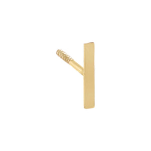 Thin Bar Threaded Stud Earring 14K 14K Gold / Single - Adina's Jewels