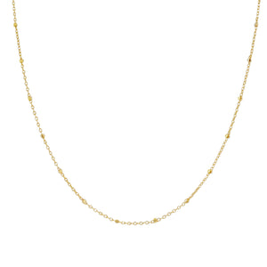 "Thin Ball Chain Necklace 14K 14K Gold / 16"" - Adina's Jewels"