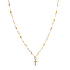 14K Gold Cross X Ball Chain Necklace 14K - Adina's Jewels