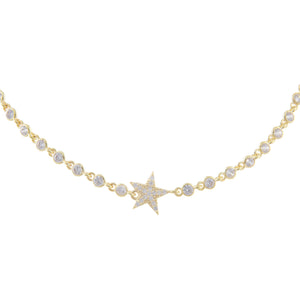 Gold Star Bezel Choker - Adina's Jewels