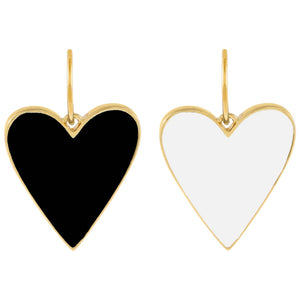 Double Sided Enamel Onyx X White Heart Charm Onyx - Adina's Jewels