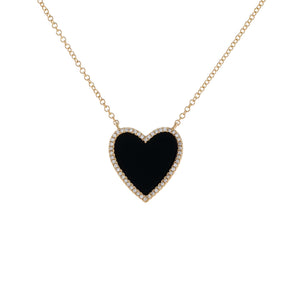 Diamond Onyx Heart Necklace 14K