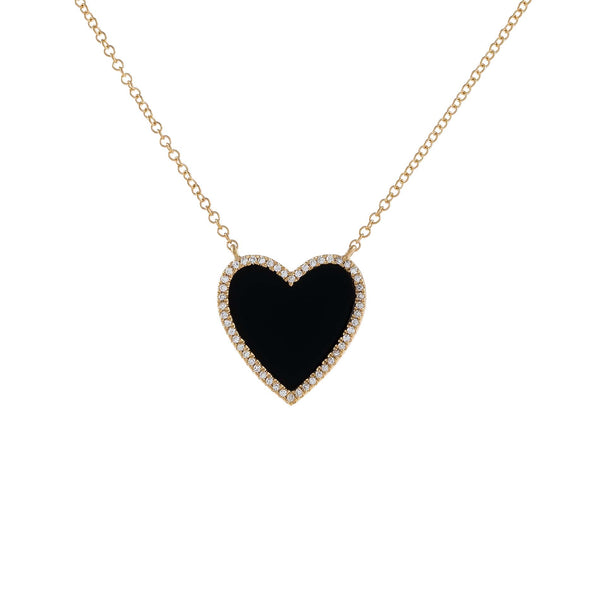 14K Gold Diamond Onyx Heart Necklace 14K - Adina's Jewels